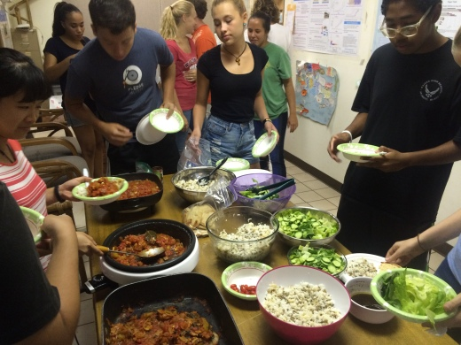 Serving dinner that everyone cooked as a team