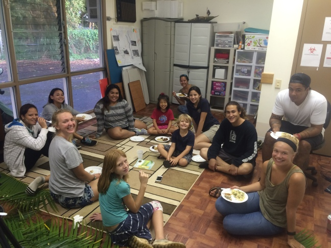 Some of the Fall 2015 participants with youth counselors (dinner time)